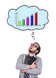 Accountant dreaming at chart. Accountant and speech bubbles with chart over head Royalty Free Stock Image