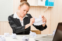 Accountant emotional struggles with stress Royalty Free Stock Photos