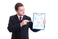 Accountant of financiële manager die grafieken en statistieken tonen royalty-vrije stock afbeelding