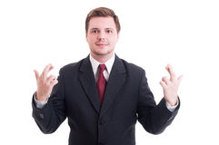 Accountant or financial manager making fingers crossed with both Royalty Free Stock Image