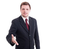 Accountant or financial manager making handshake and deal gestur Stock Images