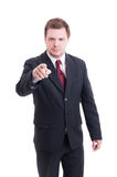 Accountant or financial manager pointing finger to the camera Stock Photography