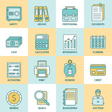 Accountant Flat Linear Icon Set  Royalty Free Stock Image