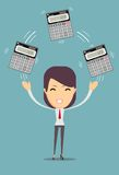 Accountant holding calculator. Royalty Free Stock Image