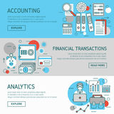Accountant Horizontal Banners Set Royalty Free Stock Photos