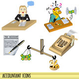 Accountant icons. Illustration of accountant clip art icons isolated on white background royalty free illustration