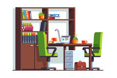 Accountant or lawyer office room with desk, laptop Stock Image