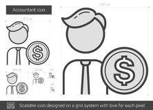 Accountant line icon. Accountant vector line icon isolated on white background. Accountant line icon for infographic, website or app. Scalable icon designed on Royalty Free Stock Photography