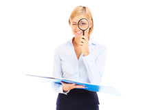 Accountant with magnifier Stock Photo