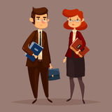 Accountant male with finance document folder. Financial worker and woman accountant. Man with document folder and female bank employee, finance paperworker with vector illustration