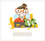 Accountant with money and coins A. Accountant in glasses with lots of money and coins. Illustration vector illustration