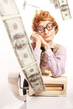 Accountant with money making machine Stock Photo