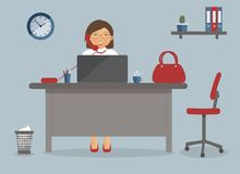 Accountant or office worker on the working place in the office on blue background.Vector illustration. Table,clock,cup of coffee, vector illustration