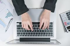 Accountant officer use laptop in the office stock photo