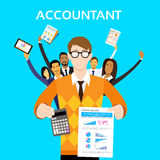 Accountant People Group Team Show Calculator. Finance Graph Report Paper Document Flat Vector Illustration stock illustration