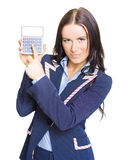 Accountant Pointing To Calculator With Copyspace Stock Image