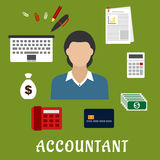 Accountant profession and objects flat icons. Accountant profession flat icons with elegant woman, encircled by laptop, bank credit card, money bag, dollar bills vector illustration