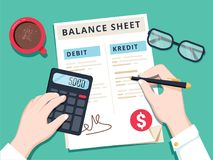 Accountant with report and a calculator checks money balance. Financial reports statement and documents. royalty free illustration