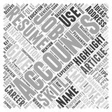 Accountant Resume Tips word cloud concept. Accountant Resume Tips To Get You the Job That You Deserve Stock Image