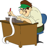 Accountant. Retro accountant with green visor at desk vector illustration
