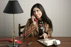 Accountant retro secretary telephone talking woman Royalty Free Stock Photos