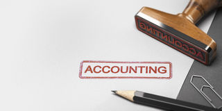Accountant Rubber Stamp With The Word Accounting on a Paper Shee. 3D illustration of a rubber stamp with other office supplies and the word accounting on a sheet Royalty Free Stock Images