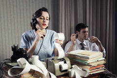 Accountant Secretary Retro Woman Vintage Office Stock Photography