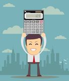 Accountant is showing an electronic calculator Royalty Free Stock Image
