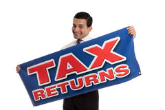 Accountant or tax agent with sign. An accountant, tax agent, tax auditor or businessman holding a sign.  White background Stock Photography