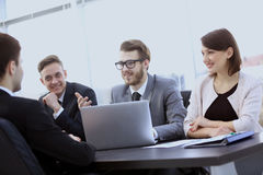 Accountant and team members to discuss new financial charts Stock Photography