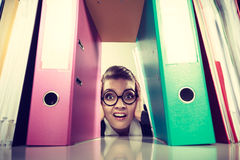 Accountant terrified of pils of binders. Royalty Free Stock Photography