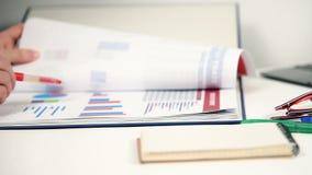 Accountant Woman Checks Report stock footage