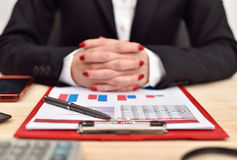 Accountant woman siting in office Stock Image