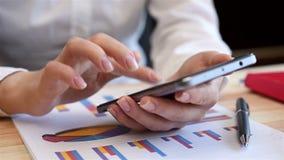 Accountant Woman Using Smart Phone stock video