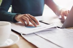accountant woman working on desk business finance stock photos