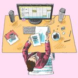 Accountant work place colored Royalty Free Stock Images