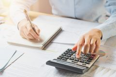 Accountant working on desk. In office Royalty Free Stock Image