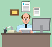 Accountant. Working at his desk with computer and calculator royalty free illustration