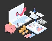 Accountant working space, isometric Royalty Free Stock Photos