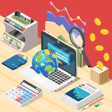 Accountant Workplace Isometric Composition. Isometric accounting background composition with workplace of accountant digital calculator laptop and conceptual Royalty Free Stock Image