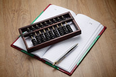 Accountants era before digital system. It is symbolic royalty free stock photos