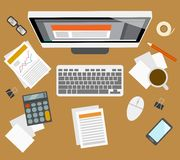 Accounter management workplace. Office business accounter management workplace with investment growth computer icons vector illustration Stock Photography