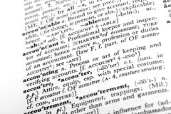 Accounting. Close-up of the dictionary definitions for accounting and accountant Stock Photos