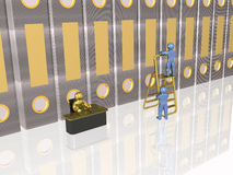 Accounting. Gold and blue 3d mans with the books, white reflective background Stock Image