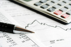 Financial graphs and accounting Stock Image
