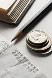 Accounting. Bills, coins and pencil - home finance Stock Photography