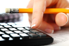 Accounting. Financial charts and graphs on the table Royalty Free Stock Photos