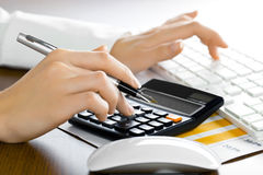 Accounting. Graphs, charts, business table. The workplace of business people Royalty Free Stock Images