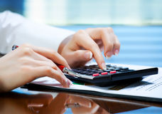 Accounting. The composition of the items for the office Stock Photos