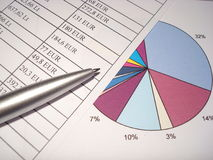 Accounting. Paper sheets with statistics and pen royalty free stock image